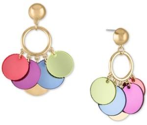 Rachel Roy Gold-Tone Multicolor Shaky Disc Drop Earrings
