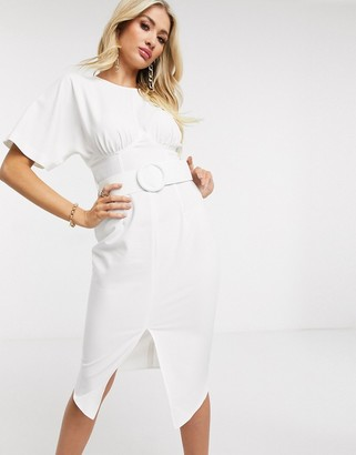 ASOS DESIGN belted midi pencil dress in ivory