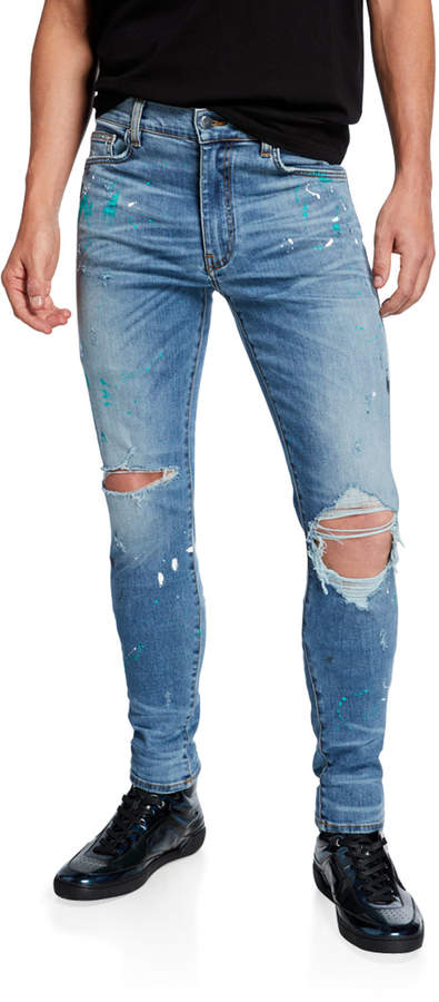 36a50c7f3a Men's Paint-Splatter Skinny Jeans with Ripped Knee