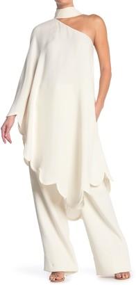 Valentino Silk One Sleeve Scalloped Midi Blouse