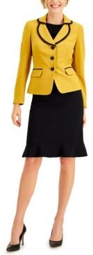 Le Suit Flounce-Hem Skirt Suit