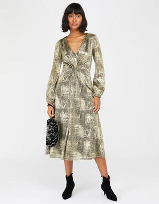 Monsoon Vanessa Twist Maxi Dress Gold
