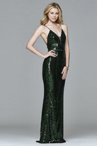 Faviana s8011 Long novelty sequin v-neck dress