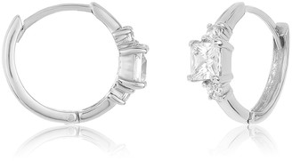 Sterling Forever Sterling Silver Princess Cut CZ Huggie Hoop Earrings
