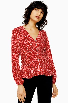 Topshop Womens Long Sleeved Side Ruched Blouse - Red