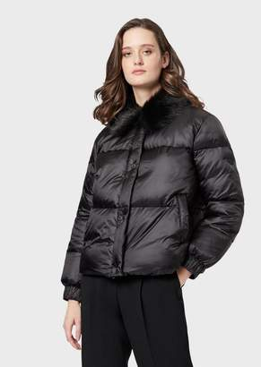Emporio Armani Quilted Jacket With Faux Fur Collar
