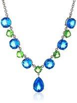Kenneth Jay Lane Fine Jewelry Sterling Silver, Blue and Green Tonal Quartz Doublet Teardrop Necklace