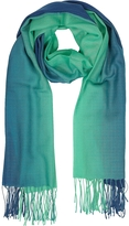 Mila Schon Gradient Blue/Green Wool and Cashmere Fringed Stole
