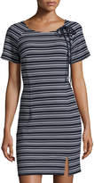 Neiman Marcus Lace-Up Striped Sheath Dress, Blue/White