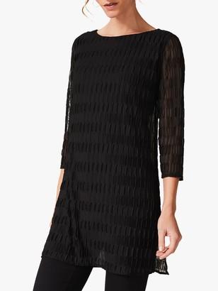 Phase Eight Priya Pleated Textured Longline Top, Black