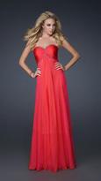 La Femme Bead Embellished Pleated Sweetheart Chiffon A-line Gown 17527