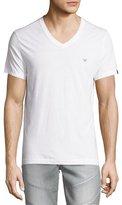 True Religion V-Neck Short-Sleeve Logo Tee, Optic White