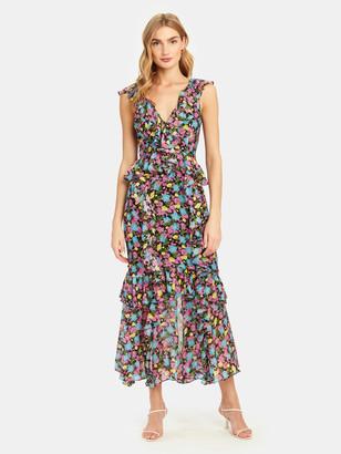 AMUR Evita Floral Print Silk Midi Dress