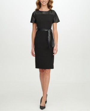 Calvin Klein Faux-Leather Belted Sheath Dress