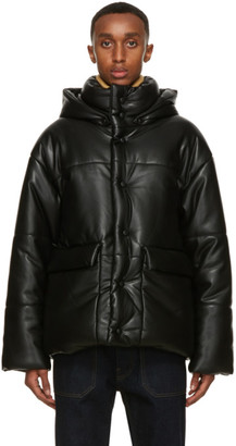 Nanushka Black Faux-Leather Puffer Hide Jacket