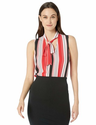 Nine West Women's Plus Size Sleeveless V Blouse with Neck TIE Detail