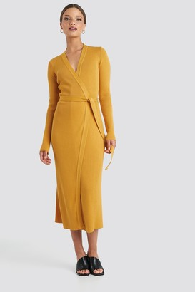 NA-KD Rib Knitted Dress Yellow