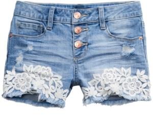 Imperial Star Big Girls Crochet-Trim Denim Shorts
