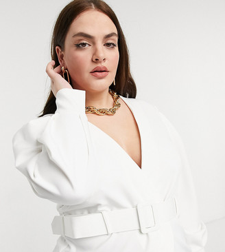 ASOS DESIGN Curve structured longline top with belt detail in ivory