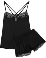 Hanro Eleonora Lace-trimmed Modal And Silk-blend Jersey Pajama Set - Black