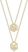 ABS by Allen Schwartz Gold-Tone Layered Caged Crystal Pendant Necklace