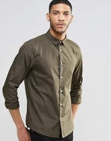 Asos Regular Fit Smart Shirt With Long Sleeves In Khaki
