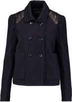 Maje Leather-trimmed wool-blend jacket