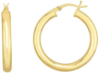 Sphera Milano 14K Yellow Gold Plated Sterling Silver Polished 25mm Hoop Earrings