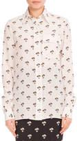 Victoria Beckham Floral-Print Silk Blouse, White/Black/Orange