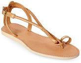 Cocobelle Taupe Elsie Snakeskin Toe Ring Sandals
