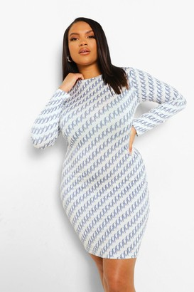 boohoo Plus All Over Print Slinky Bodycon Dress