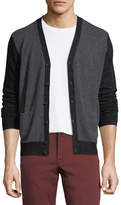Neiman Marcus Cashmere Colorblock V-Neck Cardigan