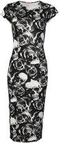 Fashion Box Womens Cap Sleeves Leopard Rose Skull Printed Bodycon Midi Dress