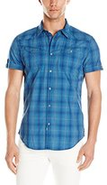 Calvin Klein Jeans Men's Rolling Plaid Short Sleeve Button Down Shirt