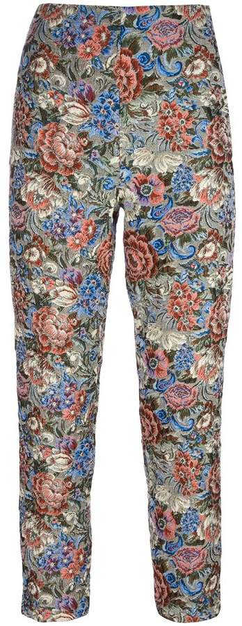 Ermanno Scervino rose jacquard cropped trousers