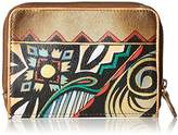 Anuschka Handpainted Leather Zip Around Credit Card Case -wings Of Hope Credit Card Holder