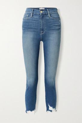 Frame Ali Cropped Distressed High-rise Skinny Jeans - Mid denim