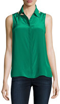 Bailey 44 For Sure Button-Front Sleeveless Shirt, Green