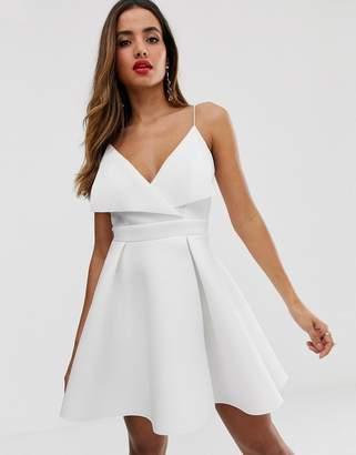 Asos Design DESIGN fold front scuba mini skater dress-White