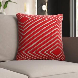 "Mccann Cotton Geometric Throw Pillow Mercury Row Color: Bright Orange/Camel, Size: 22"" H x 22"" W x 4"" D, Fill Material: Polyester/Polyfill"