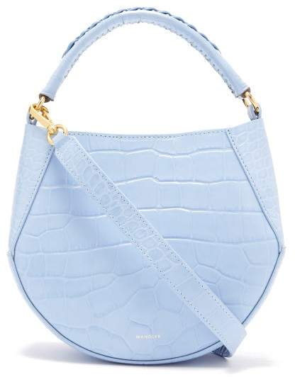Corsa Mini Crocodile Effect Leather Tote Womens Light Blue