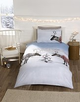 Rapport Reindeer Christmas Novelty Xmas Quilt Duvet Cover and Pillowcase Bedding Bed Set, Multi-Colour, Single
