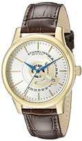Stuhrling Original Symphony Men's Quartz Watch with Silver Dial Analogue Display and Brown Leather Strap 787.03