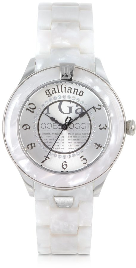 John Galliano Pictural Stainless Steel and Resin Women's Watch