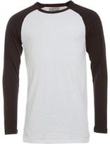Bellfield Mens Longline Long Sleeve T-Shirt White