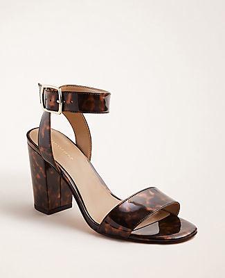 Ann Taylor Corey Tortoiseshell Print Patent Block Heel Sandals