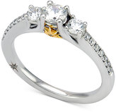 Marchesa Certified Diamond Engagement Ring (3/4 ct. t.w.) in 18k White Gold with Yellow Gold Accent