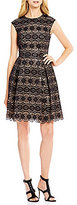 Vince Camuto Round Neck Cap Sleeve Lace Sequin Dress