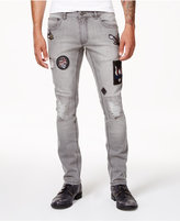 INC International Concepts Anna Sui x Men's Gray Ripped Patch Jeans, Created for Macy's