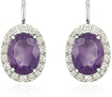 Forzieri 0.51 ct Diamond Pave 18K Gold Earrings w/Amethyst